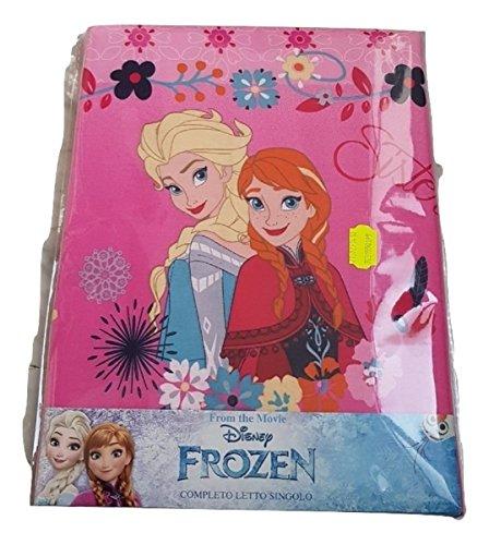 Frozen sisters completo lenzuola 3pz letto singolo lenzuola sopra+sotto con angoli+ federa 100% cotone