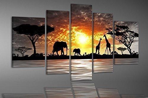 BILDER-MANUFAKTUR, LEINWANDBILDER, KUNSTDRUCK, WANDBILD, BILD, BILDER, 6751-2, AFRIKA, ELEFANT, GIRAFFE, NATUR, TIERE, AFRICA
