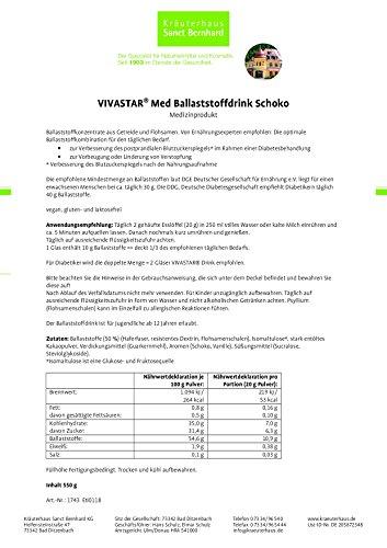 VIVASTAR® Med Ballaststoffdrink Schoko, laktosefrei, glutenfrei, vegan, Inhalt 550 g