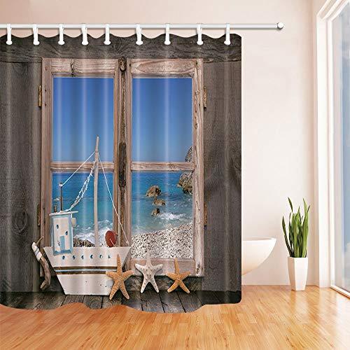 Nyngei Casa de Playa Decorada al mar con Estrellas de mar Cortinas de Ducha Tejido de poliéster Baño Impermeable 180X180CM Ganchos