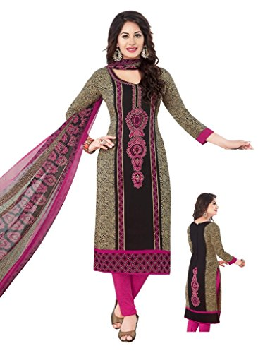 SALWAR HOUSE Black & Pink unstitched Synthetic Printed Dress Material for women with Churidar Salwar dupatta-SHMONSOON19-1657  available at amazon for Rs.410