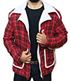 The Jasperz Dead Pool Ryan Reynolds Red Shearling Fur Jacket Coat for Ment, L.
