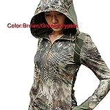 WorldShopping4U Damen BDU Combat Langarm Hoodies Shirt (Braungrün) für Wandern, Airsoft S Brown Green