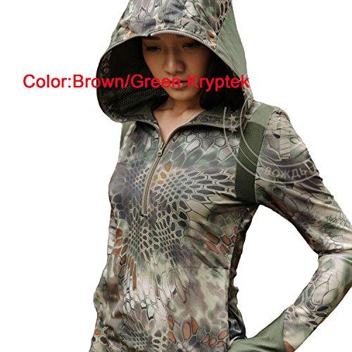 Frauen BDU Combat Lange Ärmel Hoodies Shirt (braun grün Kryptek) für Tactical Wandern Armee Militär Airsoft paintball Small  - Brown Green Kryptek (Braun Shirt Bdu)