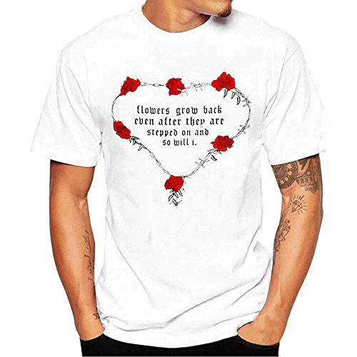 ❤️Manadlian Chemisier Blouse Femme Ete 2018,La Saint-Valentin Femmes Hommes Rose Lettre Imprimer Manches Courtes Hauts Blouse T-Shirt blanc(Hommes)
