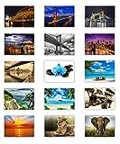 LYSCO 15 Stück Postkarten MIX - Set aus verschiedenen Motiven von Brücken, Natur, Blumen über Tiere und Strand ist alles dabei - Format: DIN A6/105 x 148 m