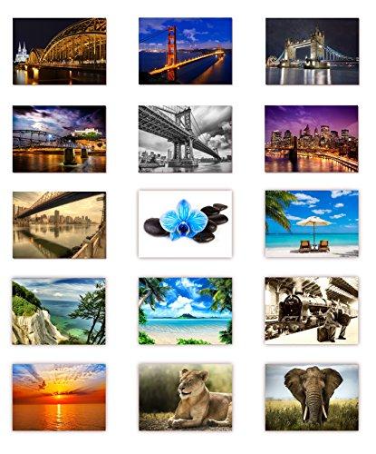 LYSCO 15 Stück Postkarten MIX - Set aus verschiedenen Motiven von Brücken, Natur, Blumen über Tiere und Strand ist alles dabei - Format: DIN A6 / 105 x 148 m (Postkarte Natur)