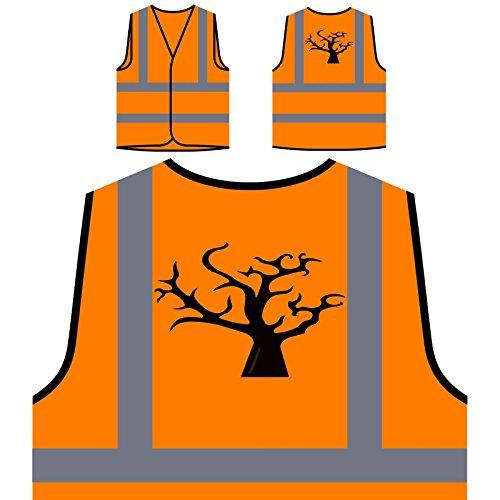 (Halloween Kunst Baum Personalisierte High Visibility Orange Sicherheitsjacke Weste q738vo)