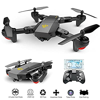OKPOW 2MP Wide Angle Drone 2.4G Foldable RC Quadcopter Wifi FPV Drone Track Mode Altitude Hold 6-Axis Gyro Gravity Sensor RC Drones with 720P HD Camera by OKPOW