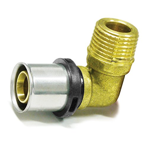 Pipetec Pressfitting Winkel Übergang 16x2 mm 3/4 Zoll Aussengewinde TH Kontur Verbundrohr, DVGW, TH-Profil