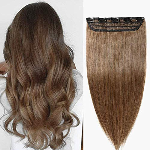 45cm-55cm one piece 5 clips extension clip capelli veri umani naturali resistente al calore parrucca castano