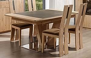 """Table pied central carré ou rectangulaire en chêne et céramique """"Forest"""" Meuble House"""