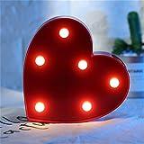 Nachtlicht LED Nacht Licht Nacht Tisch Lampe Alphabet Warmweiße LED Deko Batterien Betrieben Lichter Dekoration für Party Hochzeit Empfänge Home & Bath Bridal Bar Decor (Rotes Herz (16 * 16cm))