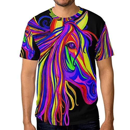 T-Shirt für Männer Jungen Abstract Rainbow Horse Custom Short Sleeve - Abstract Tröster