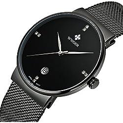 Herren Luxus Ultra-Dünn Fashion Business Kalender Quarzuhr Herren Armbanduhr Business Edelstahl Mesh Band Schwarz
