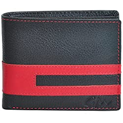 Gentleman Genuine Leather Wallet for Men Black Red