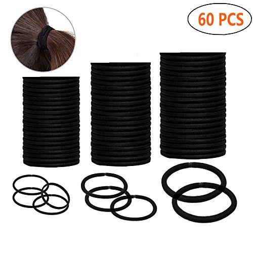 Haargummis, Schwarz haarbänder 60 Stück Sortiert 3 Größen, Elastisch Stirnband Für...