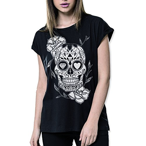 VIENTO Mexican Skull Camiseta para Mujer (Negro, M)