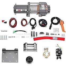 Treuil Electrique, 12V Treuil Electrique Palan Levage Câble en Acier Traction Maximale 1633kg / 3600LB pour Voiture Camion Bateau Remorque Quad VTT