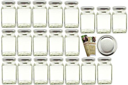 "gouveo 24er Set Einmachgläser ""Quadrat"" 260 ml incl. Drehverschluss Silber BLUESEAL, Vorratsgläser, Marmeladengläser, Einkochgläser, Gewürzgläser, Einweckgläser"