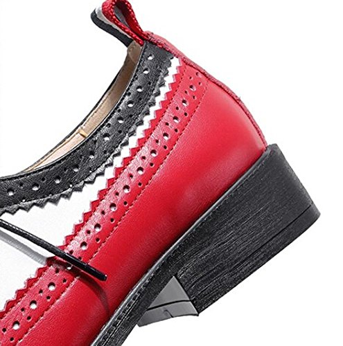 Beauqueen Oxford Flat Shoes Women's Sandals Point-Toe Heels Lace-up Primavera Estate Casual Work Party Shoes Europa Size 34-39 Red