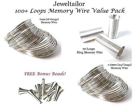 Jeweltailor 100+ Loops Memory Wire Value Pack + FREE Bonus Metal Beads ~ Includes 20 Loops 1mm Bracelet Wire, 20 Loops 0.6mm Bracelet Wire, 70 Loops Ring Memory Wire + 10 FREE Metal