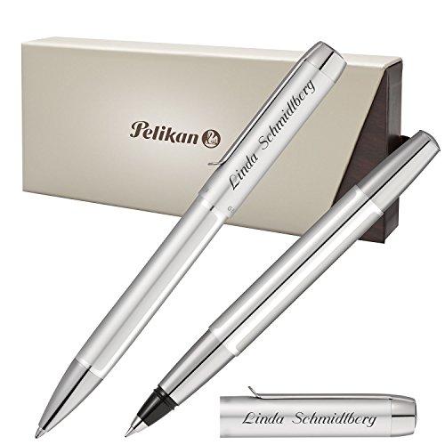 Pelikan Schreibset PURA Silber mit persönlicher Laser-Gravur Kugelschreiber und Tintenroller aus...