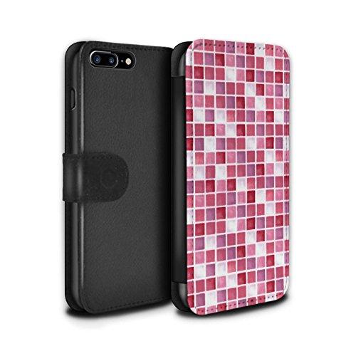 Stuff4 Coque/Etui/Housse Cuir PU Case/Cover pour Apple iPhone 7 Plus / Bleu/Vert Design / Carreau Bain Collection Rouge/Rose