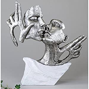 Exklusive Deko Büste Skulptur Liebespaar aus Keramik weiß/silber Höhe 36 cm