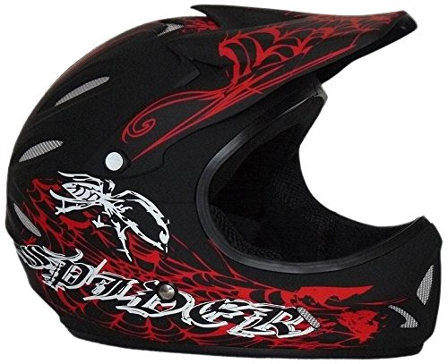 Protectwear Casco Downhill, BMX FH-40 Araña rojo-negro-mate...