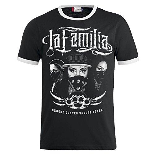 Männer und Herren T-Shirt La Familia SANGRE (mit Rückendruck) Schwarz/Weiß
