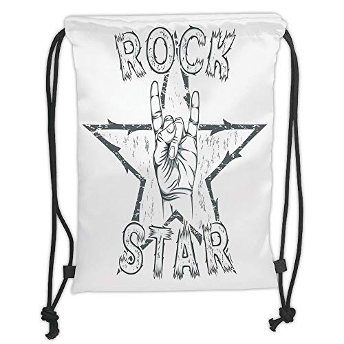 Fashion Printed Drawstring Backpacks Bags,Popstar Party,Rock Star Theme High Sign and Star Figure Grungy Sketch Gesture Vintage Decorative,Black and White Soft Satin,5 Liter Capacity,Adjustable St - Heavy-duty High-volume