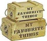 Kistenkolli Altes Land 2er Set Holzkisten My Favourite Things mit Deckel Vintage Dekokisten Weinkisten Aufbewahrungsbox Schlüsselkiste