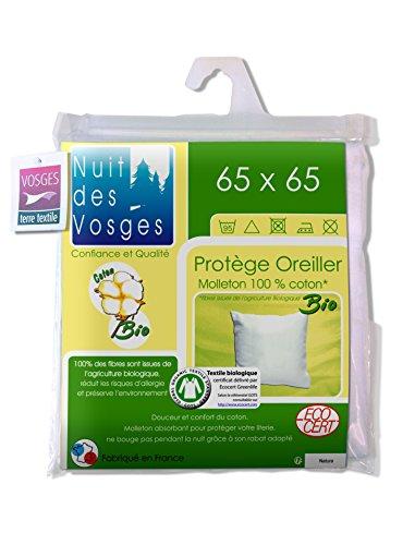 Nuit des Vosges 204481 Sous Taie d'Oreiller Molleton Bio Coton Blanc 65 x 65 cm