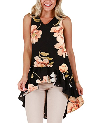Blooming Jelly Womens Summer V-Neck Ladies Top Floral Printed Sleeveless T-Shirt Irregular Ruffled Hem Tunic Tops Blouse