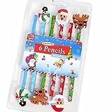 Kids Create Lot de 6 crayons à Papier avec gomme en forme de Noël décorations 2 x 2 x Motif rennes du Père Noël et 2 bonshommes de neige Idéal pour Noël