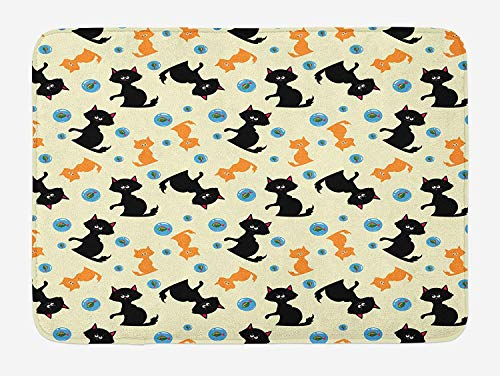TKMSH Cats Bath Mat, Domestic Animals Pattern with Orange and Black Cats Fishes in Bubbles Cartoon Style, Plush Bathroom Decor Mat with Non Slip Backing, Multicolor,15.7X23.6 inch/40 * 60cm (Wedding Bubbles In Bulk)
