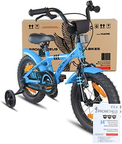 Prometheus Bicicletta per Bambini e Bambine da 4 Anni nei Colori Blu e Nero da 14 Pollici con rotelle e contropedale – BMX da 14″ Modello 2019 - 2