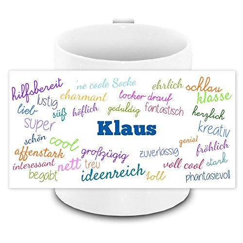 Tasse mit Namen Klaus und positiven Eigenschaften in Schreibschrift, weiss | Freundschafts-Tasse - Namens-Tasse