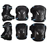 Pellor Outdoor Sports Protective Gear Skating Cycling Sports Gear Set of 6pcs For Children & Adults (Blue, L (Tall 170cm))