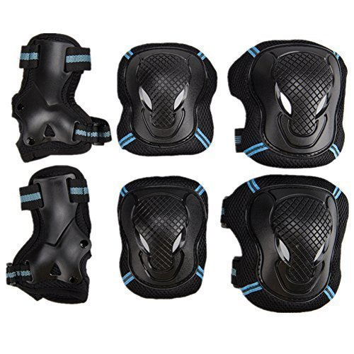 Pellor Outdoor Sports Protective Gear Skating Cycling Sports Gear Set of 6pcs For Children & Adults (Blue, S (Tall below 150cm))