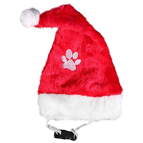 Kascha Weihnachtsmütze - Für kleine Haustiere Hund & Katze mit gestickter Pfote Rot Weiß - Nikolausmütze