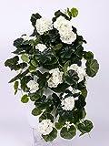 artplants Set 2 x Deko Geranienhänger Anton auf Steckstab, 130 Blättern, Weiss, 65 cm, Ø 35 cm - 2 Stück - Künstliche Geranie