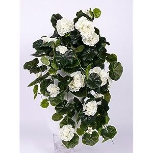 artplants.de Pelargonium Colgante Artificial Anton, 130 Hojas, Blanco, 65cm, Ø 35cm – Geranio sintético – Planta…