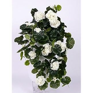 artplants.de Pelargonium Colgante Artificial Anton, 130 Hojas, Blanco, 65cm, Ø 35cm – Geranio sintético – Planta Decorativa