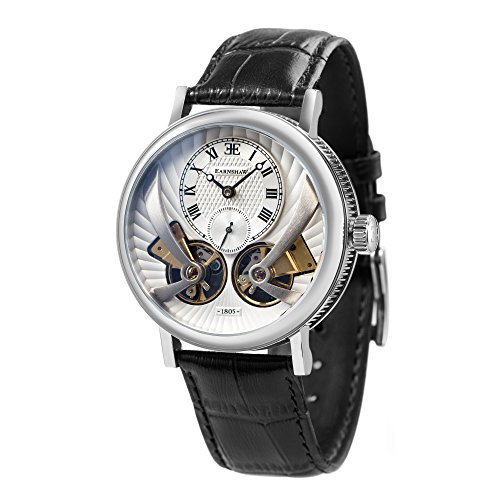 Thomas Earnhshaw – Reloj de hombre Beaufort Anatolia, automático y mecánico, con esfera plateada, analógico de estilo clásico y correa de cuero negro, ES-8059-01