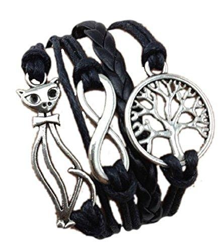Infinity Bijoux - Pulsera infinito, árbol de la vida y gato - eternidad - one direction - love - negro - plata