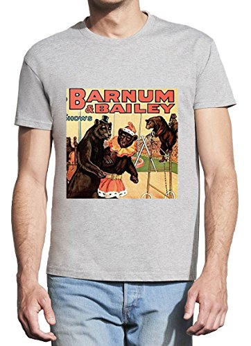 Barnum Bailey Bear Circus Design Men Grey T-Shirt - XX-Large