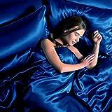 DP Design Parure de lit Double Satin Bleu Lit Bleu électrique Sexy 6pièces avec housse de couette