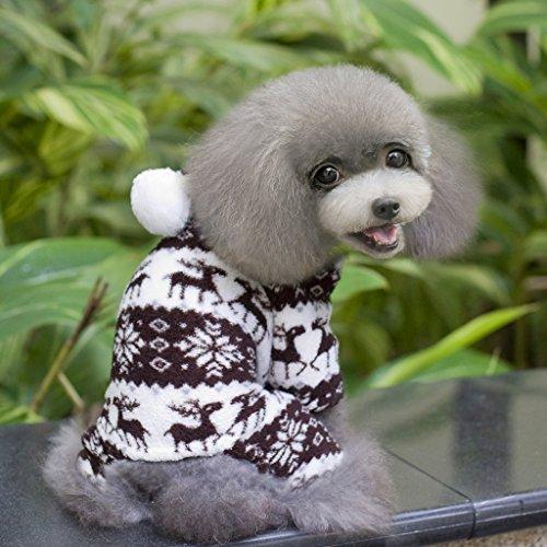 Sweatshirt Mit Kapuze Hund Flauschigen Mantel Overall W / Rentier Und Schneeflocke – Größe Xs - 4